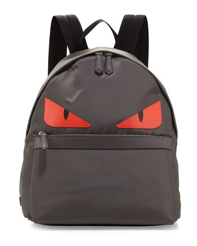Monster Nylon Backpack, Gray/Red