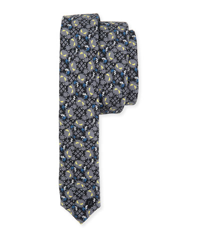 Little Monsters Skinny Tie, Blue/Gray