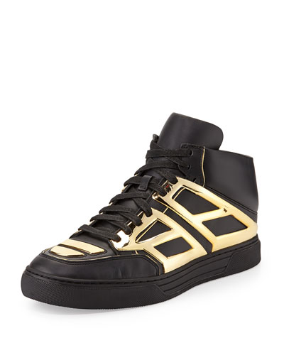Leather High-Top Sneaker, Black/Golden