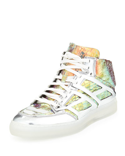 Iridescent Croc-Print High-Top Sneaker, Silver