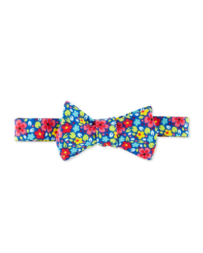 Floral Bow Tie, Blue Multi