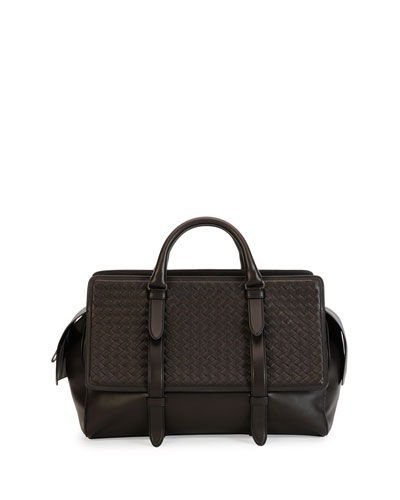 Monaco Men's Woven Leather Runway Bag, Brown