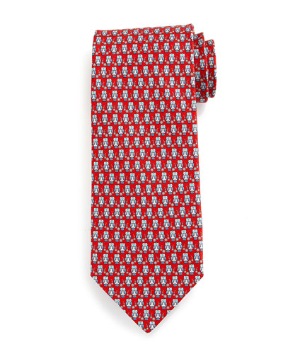 Owl-Print Silk Tie, Red/Blue