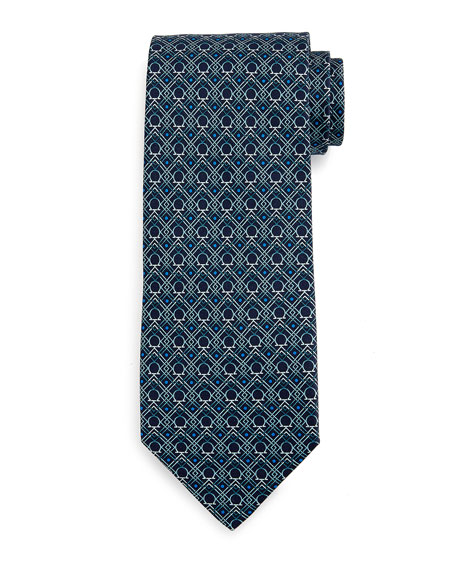 Salvatore Ferragamo Large-Gancini Print Silk Tie, Green/Blue