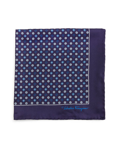 Gancini & Medallion-Print Pocket Square, Blue