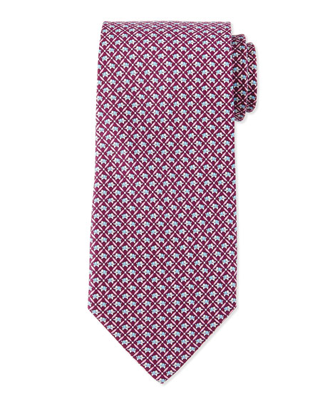 Elephant-Print Silk Tie, Magenta