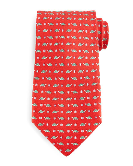 Turtle-Print Silk Tie, Red/Green