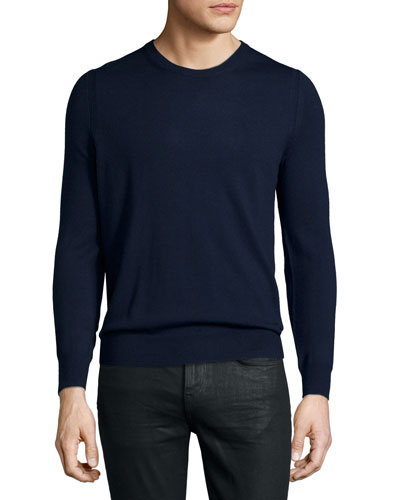 Drewett Sweater with Elbow Patches, Navy