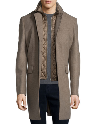 Lyndson Wool-Blend Coat with Removable Gilet, Taupe