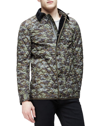 Camo-Print Quilted Bomber Jacket, Olive