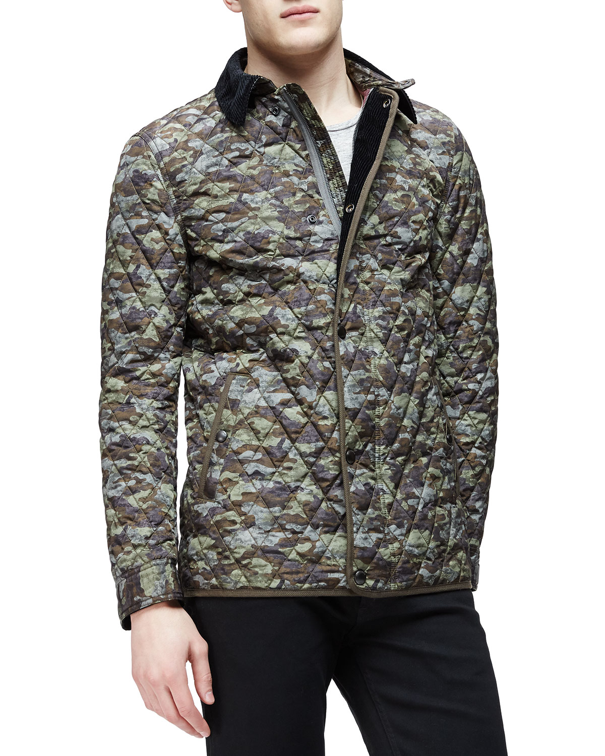 344378a929f Burberry Brit Camo-Print Quilted Bomber Jacket