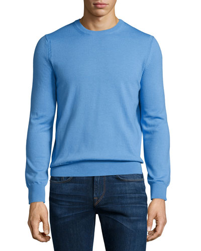 Drewett Crewneck Wool Sweater, Light Blue