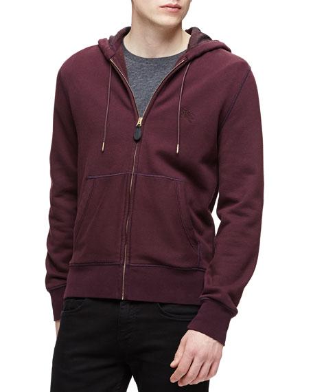 Burberry Brit Woven Zip-Front Hooded Sweatshirt, Burgundy