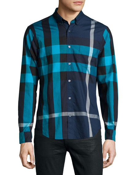 Burberry Brit Fred Exploded Check Long-Sleeve Shirt, Navy