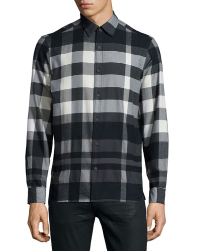 Caden Buffalo-Check Flannel Shirt, White