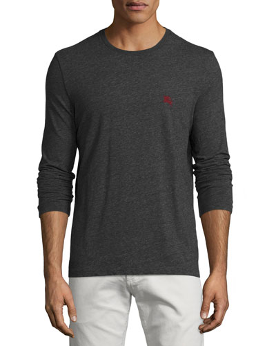Long-Sleeve Crewneck Shirt, Dark Gray