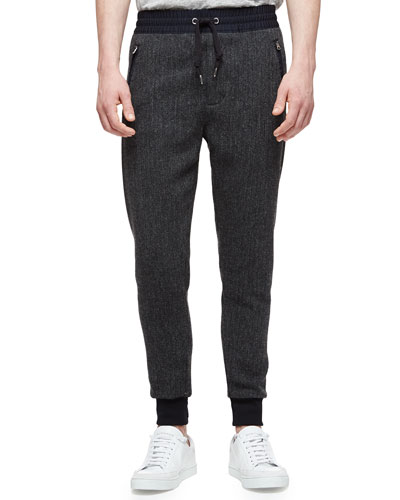 Wool Sporty Sweatpants, Charcoal