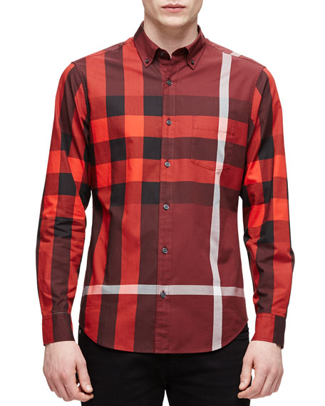 Burberry Brit Exploded Check Long-Sleeve Shirt, Red