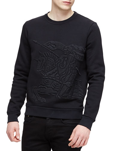 Equestrian Knight Crewneck Sweatshirt, Black