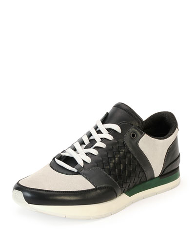Woven Leather Running Sneaker, Black/White