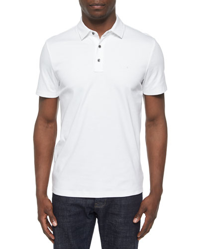 Short-Sleeve Knit Polo Shirt, White