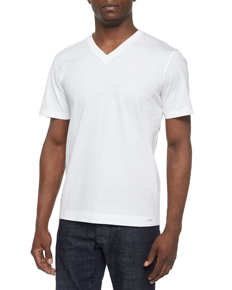 Michael Kors Liquid Jersey Short-Sleeve V-Neck Tee, White