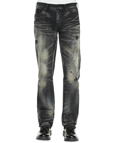 Jacinta Distressed & Faded Denim Jeans, Black/White