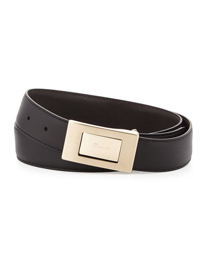 Plaque Saffiano Leather Belt, Black/Brown
