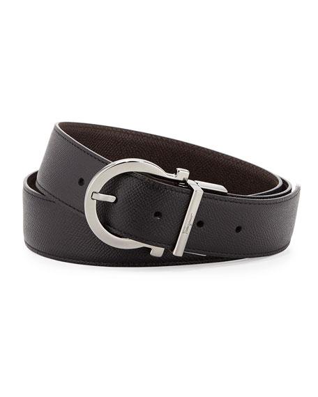 Men's Reversible Gancio-Buckle Belt, Black/Light Brown