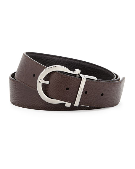 Salvatore Ferragamo Reversible Gancio-Buckle Belt, Black/Light Brown