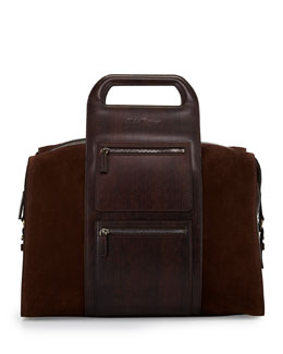Men's Runway Velvet Bowler Bag, Brown