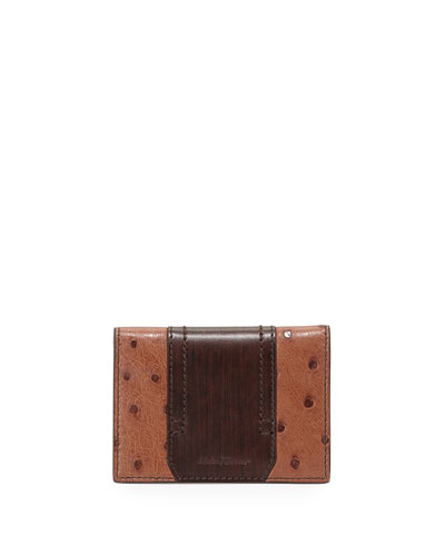 Ostrich and Calfskin Card Case, Brown
