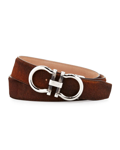 Double-Gancini Calf Hair Belt, Brown
