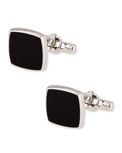 Sterling Silver Black Onyx Square Cuff Links