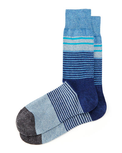 Merchant Multi Stripe Socks, Navy