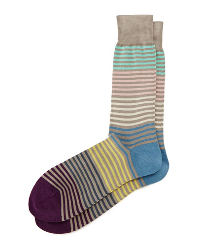 Pastel Multi Stripe Socks, Gray