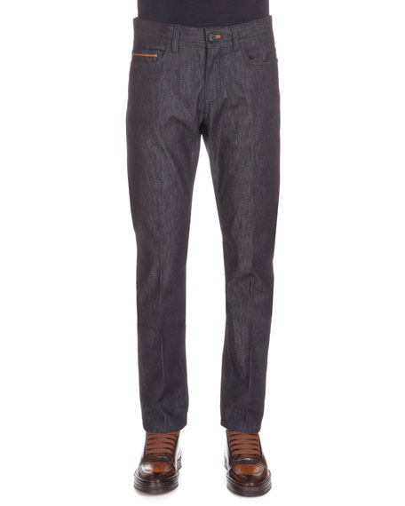 Berluti Stretch Denim Jeans with Leather Detail, Indigo