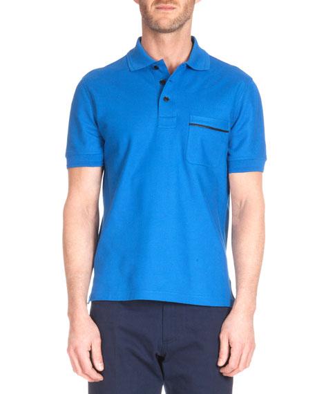 Berluti Leather-Trim Polo Shirt, Metallic Blue
