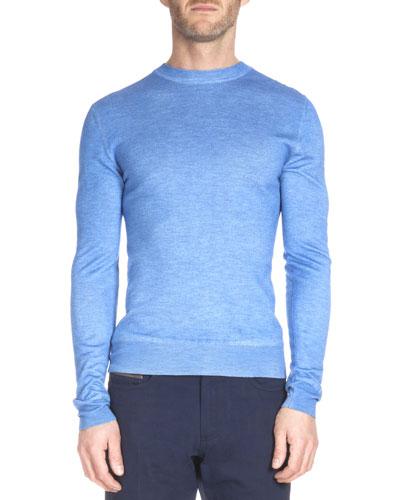 Overdyed Crewneck Sweater, Blue