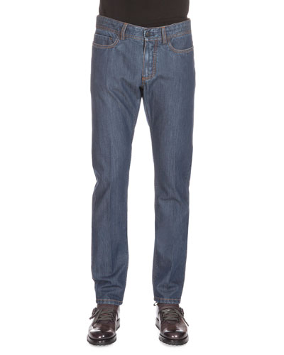 Cashmere-Blend Washed Denim Jeans, Blue