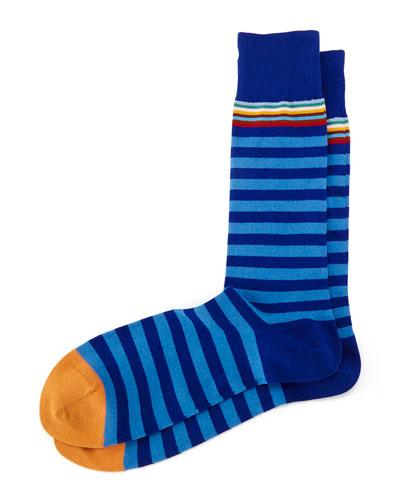 Multi 2 Stripe Socks, Blue
