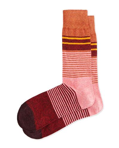 Merchant Multi Stripe Socks, Pink
