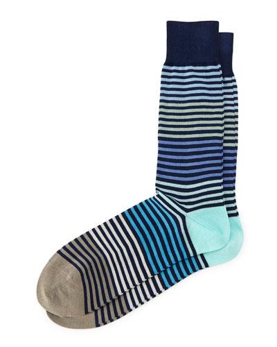 Pastel Multi Stripe Socks, Navy