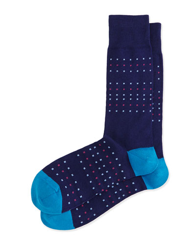 Dot-Stripe Socks, Navy