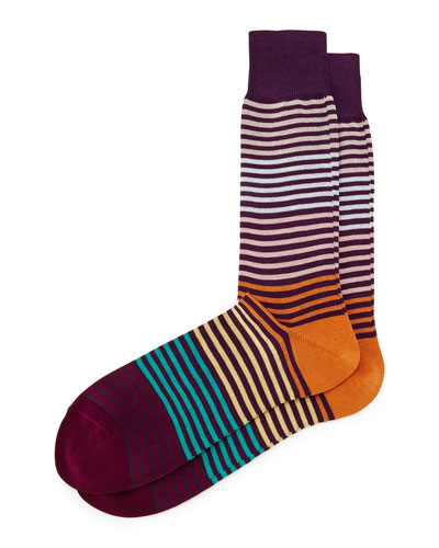 Pastel Multi Stripe Socks, Purple