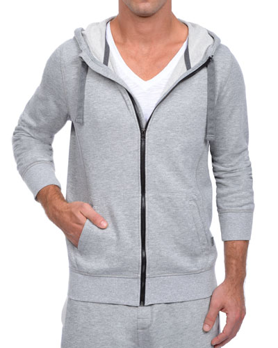 Terry Zip-Up Hoodie Jacket, Light Gray