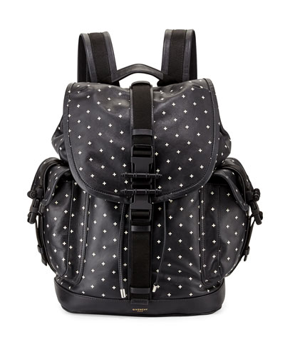 Men's Cross-Print Leather Backpack, Black