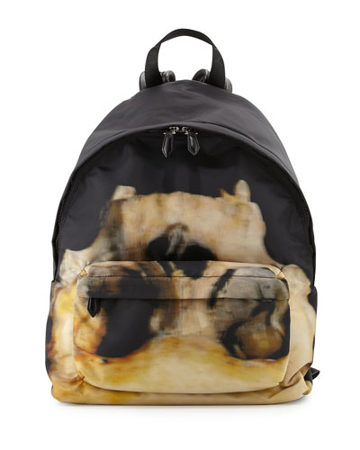 Skull-Graphic Backpack, Black