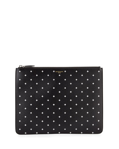 Cross-Print Leather Pouch, Black
