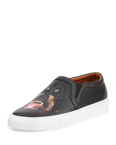 Rottweiler-Print Leather Skate Shoe, Black